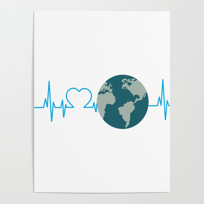 heartbeat earth day environmental awareness poster