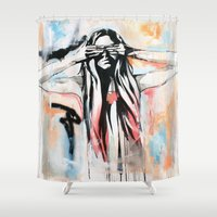 scott pilgrim Shower Curtains featuring The Pilgrim by KHCollaboration