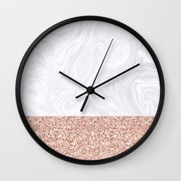 White Marble Dipped in Rose Gold Glitter Wall Clock