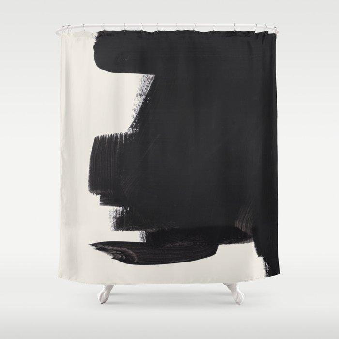 Mid Century Modern Minimalist Abstract Art Brush Strokes Black & White Ink Art Colorfield Duschvorhang
