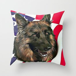 German Shepherd & American Flag Throw Pillow
