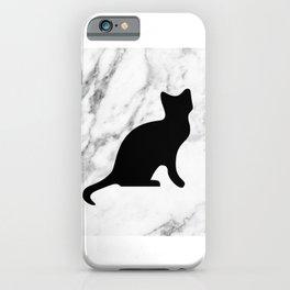 Marble black cat iPhone Case