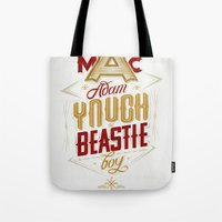 beastie boys Tote Bags featuring ∞ Adam Yauch • No way! I'm a Beastie Boy ∞ by Fabio Persico