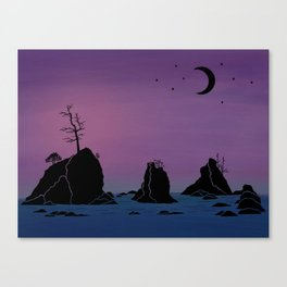 Moon over Three Graces Canvas Print