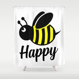 Bee happy feel good Design Shower Curtain