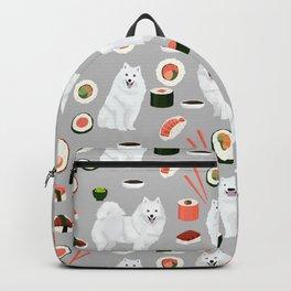 Japanese Spitz sushi kawaii dog portrait custom pet lover pattern by pet friendly Backpack