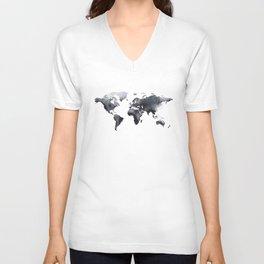 Blue world map Unisex V-Neck