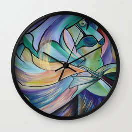 Middle Eastern Belly Dance With Pastel Veils Wall Clock