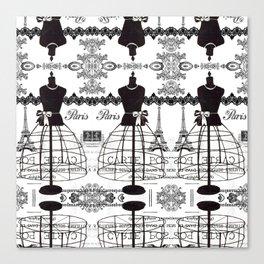 Vintage black white Paris French dress mannequin pattern Canvas Print
