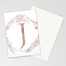 Letter J Rose Gold Pink Initial Monogram Stationery Cards
