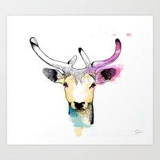 Watercolour Creatures - Elk Art Print
