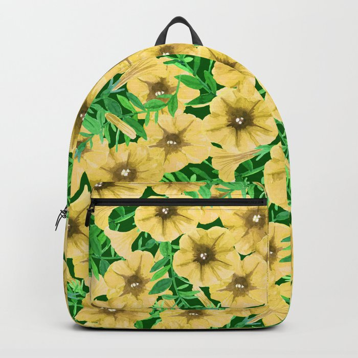 Yellow watercolor petunia flower pattern Backpack