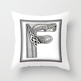 Zentangle F Monogram Alphabet Illustration Throw Pillow