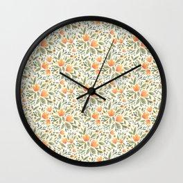 Peachy Flower Medley Wall Clock