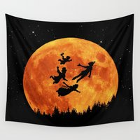 neverland Wall Tapestries featuring Take Me To Neverland by alifart