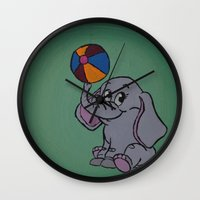 baby elephant Wall Clocks featuring Baby Elephant by SeeMollyCreate