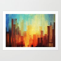 fire Art Prints featuring Urban sunset by SensualPatterns