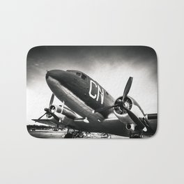 C-47D Skytrain Black and White Bath Mat