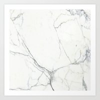 white marble Art Prints featuring Marble by Patterns and Textures