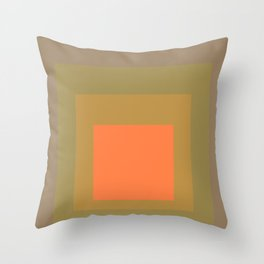 Block Colors - Muted Earthy Tones and Bright Orange Throw Pillow