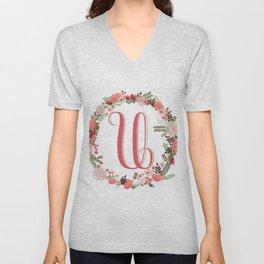 Personal monogram letter 'U' flower wreath Unisex V-Neck