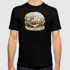 Pug Burger Mens Fitted Tee Black SMALL