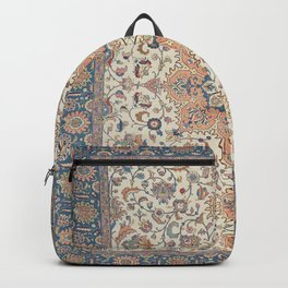 Fine Persia Tabriz Old Century Authentic Colorful Blue Rust Orange Vintage Patterns Backpack