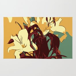 Spring is coming. Abstract vector image of beautiful lilies Rug