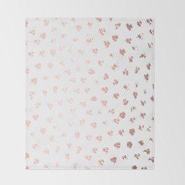 Rose Gold Pink Polka Splotch Dots on White Throw Blanket