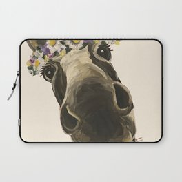 Cute Flower Crown Donkey, Up Close Donkey Art Laptop Sleeve