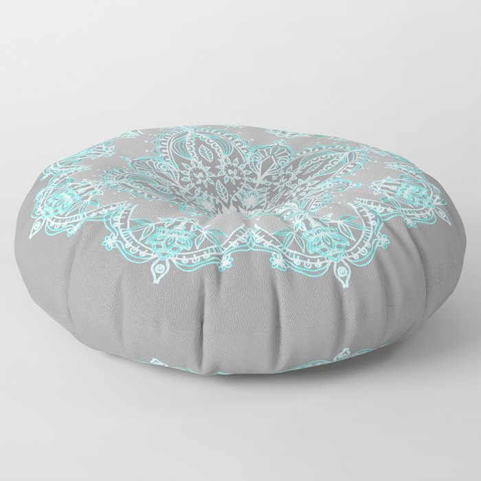 Teal and Aqua Lace Mandala on Grey Floor Pillow