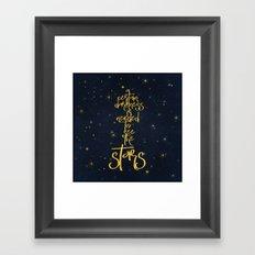 Darkness-Stars - sparkling night gold glitter typography Framed Art Print