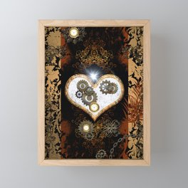 Steampunk, beautiful heart Framed Mini Art Print