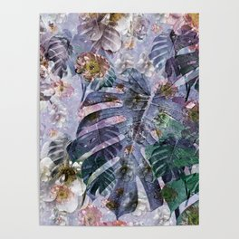 Tropical flowers and leaves Poster