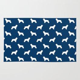 Cocker Spaniel navy and white minimal modern pet art dog silhouette dog breeds pattern Rug