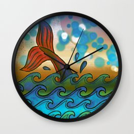 Beach Whale Tail Abstract Wall Clock