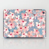 bedding iPad Cases featuring Shabby Chic Hibiscus Patchwork Pattern in Pink & Blue by micklyn