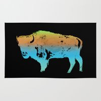 bison Area & Throw Rugs featuring Bison bison, North American Bison by ArtsyKiwi