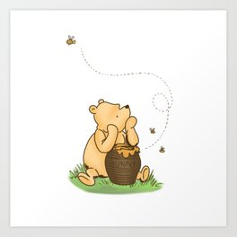Classic Pooh with Honey - No background Art Print