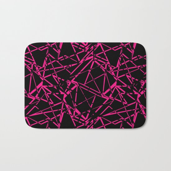 Abstract geometric black and Burgundy pattern . Bath Mat