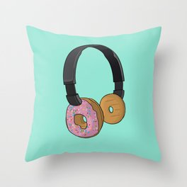 Donut Headphones Throw Pillow