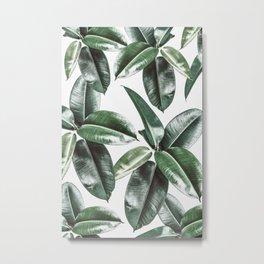 Tropical Leaves Pattern | Dark Green Leaves Photography Metal Print