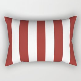Vivid auburn red - solid color - white vertical lines pattern Rectangular Pillow