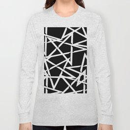 Interlocking White Star Polygon Shape Design Long Sleeve T-shirt