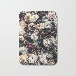 Flower Wall // Desaturated Vintage Floral Accent Background Jaw Dropping Decoration Bath Mat