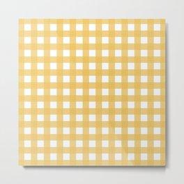 Harvest Yellow Gingham Metal Print