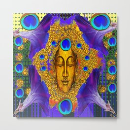 MYSTIC PEACOCK BLUE FEATHER EYES BUDDHA ART Metal Print