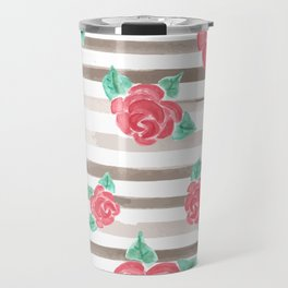 Stripes and Roses // Watercolor Travel Mug