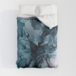 Blue Seas Mauve Sand Abstract Flow Painting  Comforters