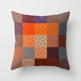 RED AND BROWN TONES - BLOCKS AND WEAVE PATTERN Throw Pillow